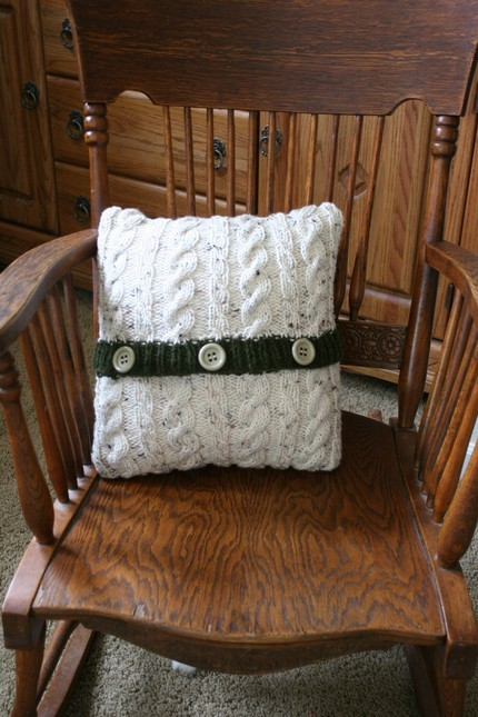 Handknit Cableknit Pillow cover with insert by NettieLikesToKnit