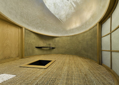 Paper dome interior of A1's tea house. Via.