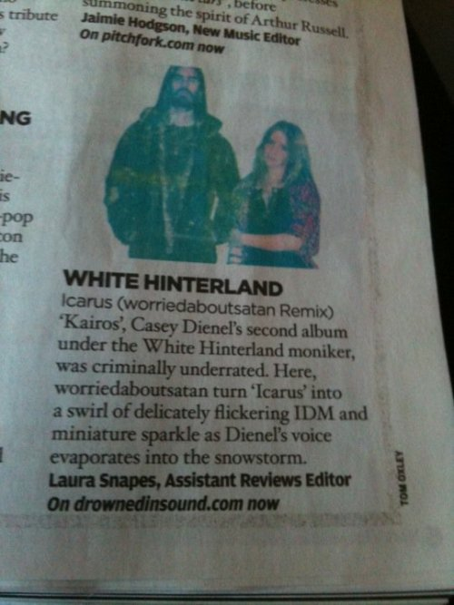 Thanks to Laura Snapes, our remix of White Hinterland's 'Icarus' made it into the NME!   Icarus (worriedaboutsatan remix) by worriedaboutsatan