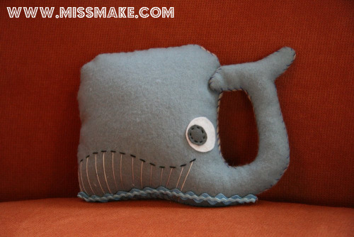 i made this plush whale out of wool felt from a really great book. i love him.