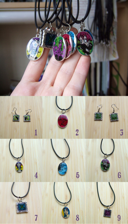 1: Evil Birds ([link])2: Magenta Psycho (SOLD)3: Green Psycho (SOLD)4: Her Head is Floating Away ([link])5: Here Forever After Death ([link])6: Spewing Out Demons ([link])7: Blue-Green Psycho ([link])8: Rose in Her Hair ([link])9: Purple Psycho ([link])Gouache, ink, resin, metal pendants. 2009.
