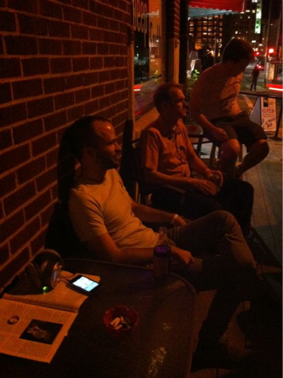 "Bcubed.  Brent, Bo, and Bryan Reed soaking in some ""Eliminator"" on the patio outside the venue tonight. ZZ Toppin' out at 110mph…"