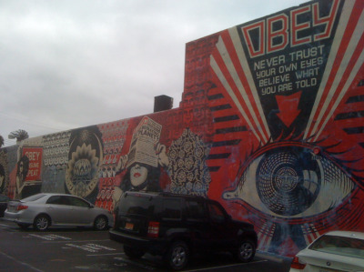 Shepard Fairey mural around the corner from my new place.