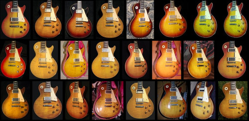 This is the same model (les paul standard 1958-60) The sunburst finish faded with age. Each of those beauties has its own unique vintage look.