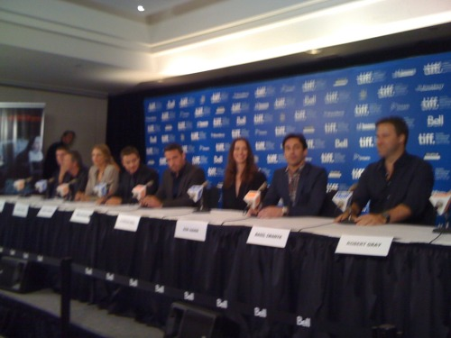 From Ann Marie, a photo from a press conference for the movie The Town. (Jon Hamm will be on an upcoming show to discuss his role in this film.) From left to right, screenwriter Chuck Rogan, actors Chris Cooper, Blake Lively, Jeremy Renner, Ben Affleck (also the director), Rebecca Hall, Jon Hamm, producer Basil Iwankl.