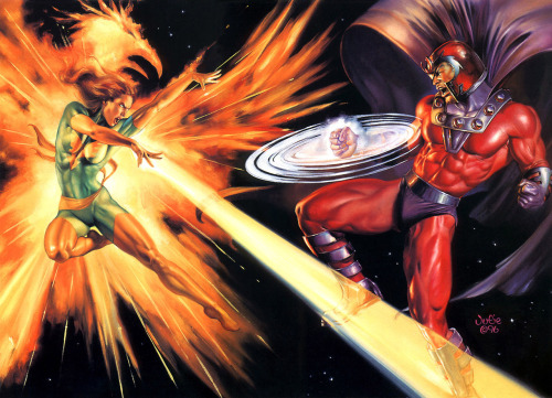 fuckyeahmagnus:     Phoenix vs Magneto by Julie Bell   I can't get enough of this painting!