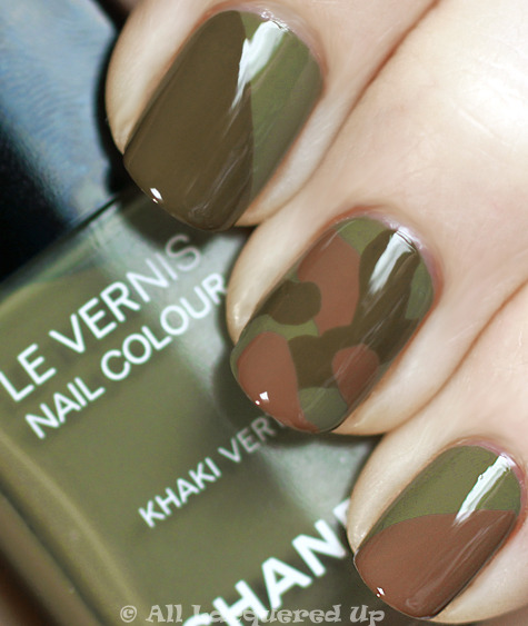 Camo manicure using Les Khakis de Chanel.  Via All Lacquered Up.