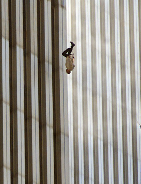 "armado:  The Falling Man One of the most haunting images captured from 9/11, it shows a man free-falling after he has jumped from one of the windows of North Tower. He was one of the people they call ""Jumpers"", who chose to jump to their death rather than get suffocated by the smoke or get buried under the rubble. Some called them cowards, while some sensationalized them as tragic symbols of 9/11. But the fact of the matter is, it was a hard choice for anyone to make, and one can not really judge the decisions a person makes in times like these. People, you rant so much about how you have a hard time making choices. Whether you should work on your assignment or go out with your friends. Whether you should date this guy or that guy. Whether you should break up with your boyfriend or not. Whether you should wear the pink blouse or the baby blue one. Imagine the choice this man had to make."