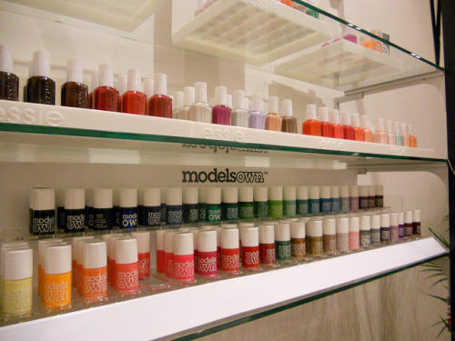 Models Own and Essie Polishes at Topshop, London. via
