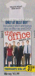 every September I am that Office nerd who goes out to Best Buy and spends about $50 on the DVD special edition box sets. I am pretty sad that Season 6's set is so lame compared to previous box sets. I have tons of little knickknacks and shirts from these special edition sets which usually bring like 5 extra fan items but this year its just the DVD and a shirt? pft. anyway, still buying.