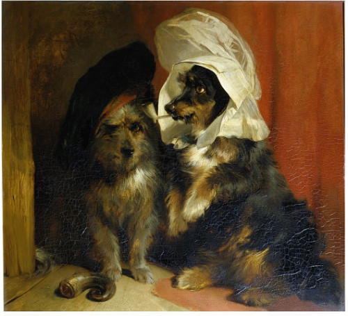 Edwin Landseer | c. 1836 One of these wire-haired terriers has a ram's horn snuff container and wears a Scottish bonnet, while the other has a clay pipe in its mouth and wears a lady's cap. A critic observed that the artist 'gives them all the intelligence of the canine nature' but 'never plays with the falsehood of a fanciful or humanised expression'.