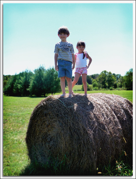 Kaiden Alexander and Alissa on Nana's farm.