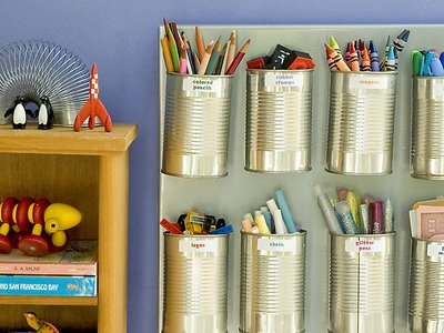 learningwithbella:  Tin Can Organizer from Craftzine.com