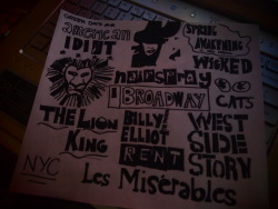My Broadway Doodle ^^ which I've been doing all afternoon.. I know you're not all familiar with broadway but yeah.. these are some of the best musicals out there :D haha. I know that it's sucky but whatever I'm not an artist :P
