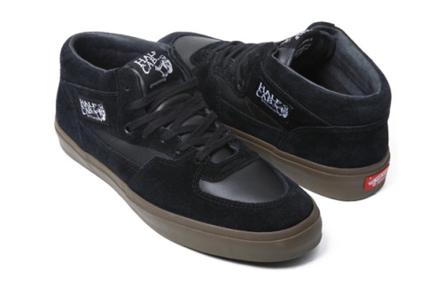 Supreme x Vans Half Cab - Black (Fall/Winter 2010) Supreme will be  releasing two new styles of Vans - the Half Cab and  the Old Skool.  Both  styles will feature a suede/leather upper with  leather insoles and a  gum rubber sole.