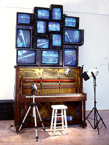 "hyperallergic:  Nam June Paik, Piano Piece, 1993 Closed-circuit video sculpture, 120 x 84 x 48"" Sarah Norton Goodyear Fund, 1993"