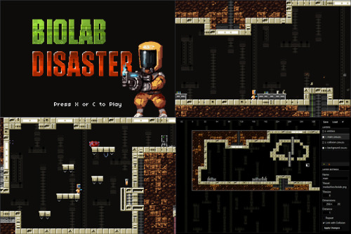 Biolab Disaster - Pure HTML5 & JavaScript Dominic Szablewski put together an incredibly impressive demonstration of what he's able to pull of with pure HTML5 and JavaScript with the game Biolab Disaster.  Although the graphics and gameplay are on par with what you'd expect out of the NES in the early 1990s it still shows the bright future for in-browser games and applications. Read more about Biolab Disaster and the Impact HTML5 Game engine on Dominic's blog.