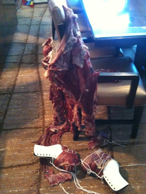 Meat Dress: The Morning After mothermonster:  The meat dress this morning