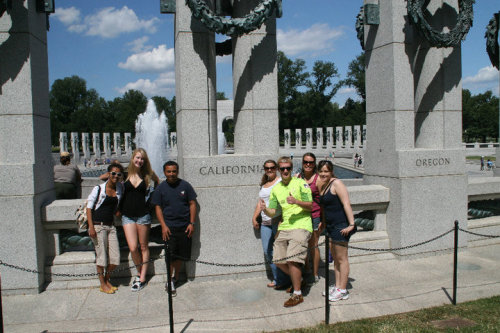 The Californians at the WWII Memorial! It was our first field trip last Monday, we toured the city, and of course, since it was there, we had to get our picture in front of California! I can tell, this is going to be an amazing semester :)