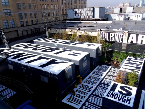 purple-diary:  Barbara Kruger downtown new york To build excitement for the new downtown location of the Whitney, the museum commissioned three artists, Guyton/Walker, Tauba Auerbach and Barbara Kruger, to contribute to an ongoing public art project on the site of the future building. The artists stays true to their aesthetics but must use printed vinyl as the medium to mold and cover the fences and surrounding area on the corners of Gansevoort and Washington St. The current Barbara Kruger installation of iconic black and white word images debuted over the weekend and is visible at both ground level and from the High Line, New York. Text and Photo Juliana Balestin
