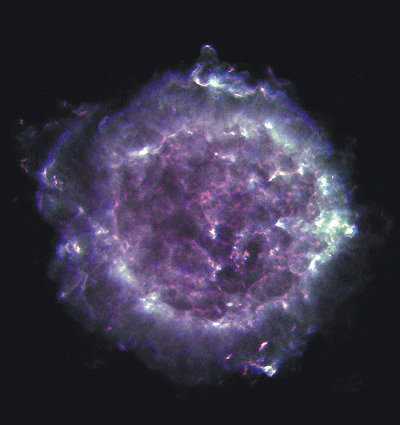 theantidote:   Cassiopeia A Cassiopeia A is the remnant of a supernova explosion that occured over 300 years ago in our Galaxy, at a distance of about 11,000 light years from us. Its name is derived from the constellation in which it is seen: Cassiopeia, the Queen. A supernova is the explosion that occurs at the end of a massive star's life; and Cassiopeia A is the expanding shell of material that remains from such an explosion. This radio image of Cassiopeia A was created with the National Science Foundation's Very Large Array telescope in New Mexico. This image was made at 3 different frequencies: 1.4 GHz (L band), 5.0 GHz (C band), and 8.4 GHz (X band). Cassiopeia A is one of the brightest radio sources in the sky, and has been a popular target of study for radio astronomers for decades. The material that was ejected from the supernova explosion can be seen in this image as bright filaments. Credit: NRAO/AUI  (via krestinaholodov:)