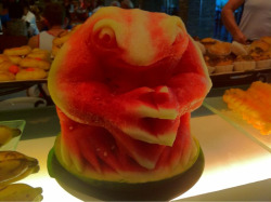 Frog carved from a watermelon at the breakfast buffet