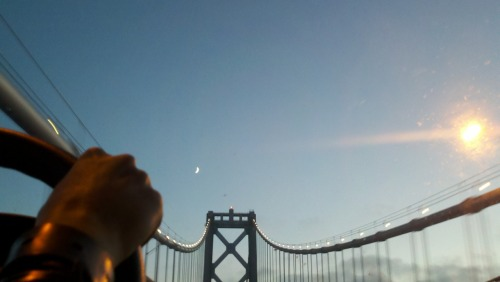 Bay Bridge. The hand of Brittany Perham.