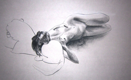 Anatomical Life Drawing: figure study, 20 min. charcoal pencil & willow charcoal.