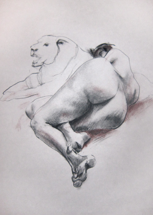 Anatomical Life Drawing III figure study, 20 min. charcoal pencil & willow charcoal