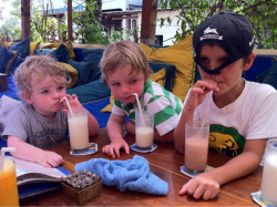 Spenser, Harvey & Kai enjoying milkshakes at the Blue Ocean Cafe