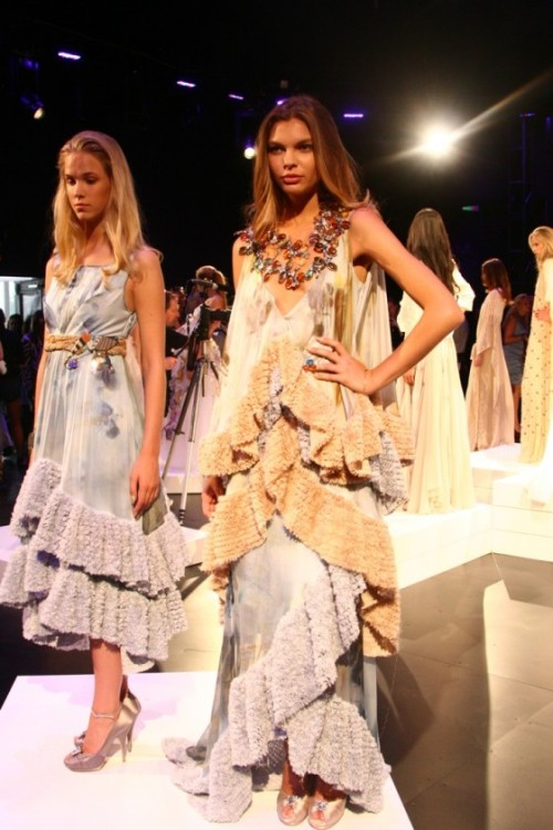 Binetti, Spring 2011.  Loving the ruffles, the ruckling and the decidedly 70's silhouettes. (Image via Fashion Indie)