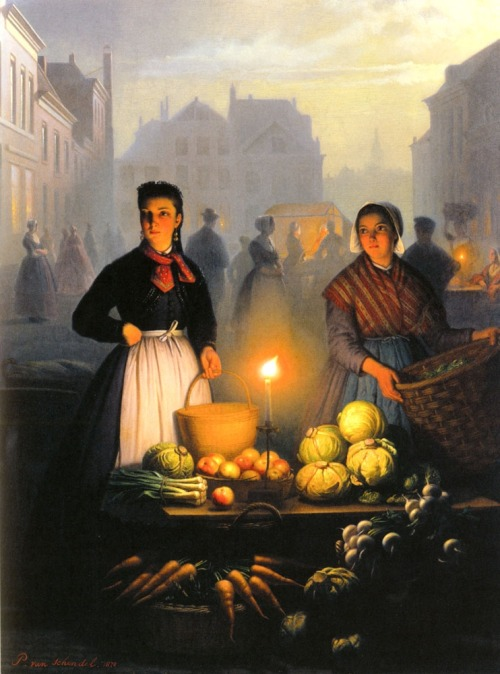 missfolly: Petrus Van Schendel A Market Stall by Moonlight 1870