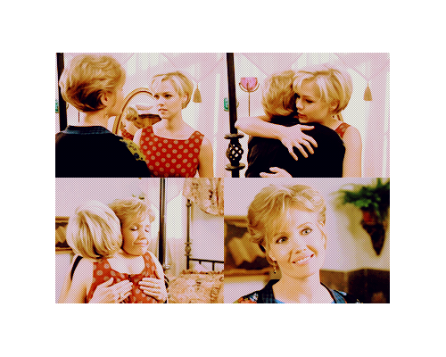 tvshowsaddictt:  Kelly & Jackie Taylor - BH90210 S06Kelly: I think i'm ready to go back home too.Jackie: Are you sure? You can stay here as long as you like.Kelly: No i'm sure, but thank you! It's so nice to have a mom's house to retreat too. *Hugging*Jackie: Stay for lunch?Kelly: Are you cooking?Jackie: Very funny!Kelly: Laughs.Jackie: Honey, i'm glad you're feeling better.You really deserve it!