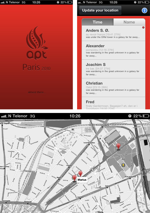 "@popeindustries, @andersaloof & me made this iPhone web app for our company's trip to OFFF 2010 in Paris. The purpose of the app was to be able to check in with a status and geolocation to tell colleagues where you were. ""Why didn't you just use some random webservice?"". Well, the whole point was to make it super-bandwidth efficient, so that the roaming costs would not be massive. Turned out to work quite well."