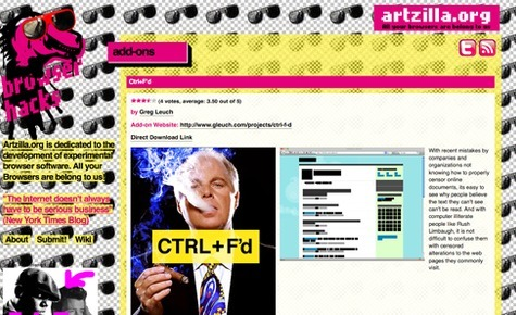Who would have thought that the lowly web browser could become an art medium? Most of us take our browser software for granted—using Firefox, Chrome, Safari or even (heaven forbid!) Internet Explorer as web information portals and nothing more. That is, of course, what these browsers were designed to do, but in the hands of hacker artists, they are capable of so much more, adding new functionality and customization capabilities to the browser platform. More here