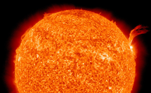 On Sept. 8, 2010, a C3-class solar flare erupts from the Sun. Just as a sunspot was turning away from Earth on Sept. 8, the active region erupted, producing a solar flare and a fantastic prominence. The eruption also hurled a bright coronal mass ejection into space