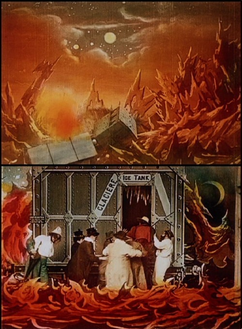 The Impossible Voyage (1904, dir. Georges Méliès) The explorers crash inside the sun, where they fear they will die from the heat. Good thing the flying space train had a giant ice tank!
