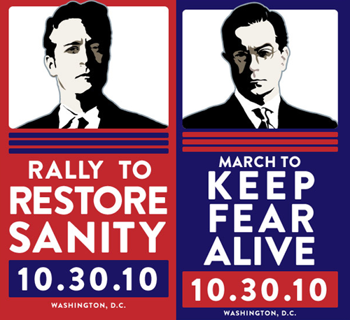 Jon Stewart's March to Restore Sanity and Stephen Colbert's March to Keep Fear Alive rallies on October 30th, 2010 in Washington D.C.  I actually really want to go to this — especially since it's now really easy for me to hop over to D.C. from NYC. I have French class that day, but depending on the timing, I might try to head to D.C. after that (and then maybe spend Sunday in D.C. as well).