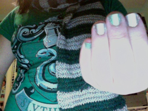 breakoutyourmadeyes:  Slytherin pride. Haters gonna hate. (if you couldn't tell, my nails are green and silver)