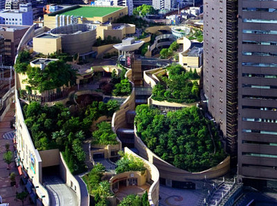 "urbangreens:  Japan's Namba Parks Has an 8 Level Roof Garden with Waterfalls | Inhabitat  ""Namba Parks, a massive retail and office compund in Osaka, Japan, totally blasts away the boring stereotype of what a mall is supposed to look like. Built in the footprint of the old Osaka baseball stadium, it has an eight level rooftop garden that spans several city blocks and features tree groves, rock clusters, cliffs and canyons, lawns, streams, waterfalls, ponds and even space to grow veggies!""  via fibonaccispirals"