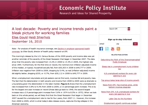 "Economic Policy Institute has released its report on the ""Lost Decade."" Noteworthy and bleak."