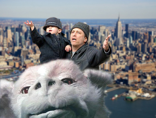 urlesque:  fearknot:  mostlysilly:  wholovesfalcor:  Jon Stewart and his son Nathan love Falcor!   There is a blog dedicated to photoshopping people into Falcor My life is perfect  holy shit, that is my new favorite blog  This.    Life = Complete.