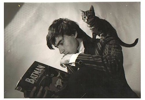tychokepler:  Grant Morrison and his cat.  Mod suit! Mod suit Grant Morrison! Favorite comic book writer in a cool suit with cool hair before he was a totally mystic baldy! Soulmate.