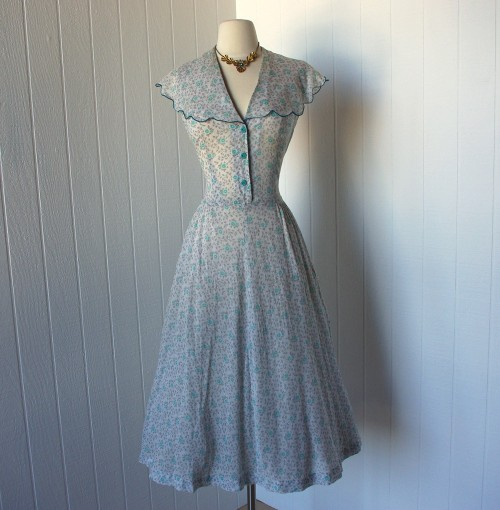 vintage 1950s dress earliest ann taylor label in wispy semi-sheer cotton floral on Etsy from traven7 (SOLD)
