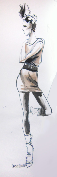 Fashion Drawing and Stylization II figure study, 10 min. Tombo marker, ink & wash