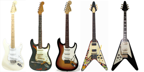 SOME of Jimi Hendrix's guitars. From left to right: 1968 Stratocaster Olympic White (the Woodstock strat), 1965 stratocaster 3 tone sunburst that Jimi burnt at the Finsbury Astoria in 1967, 1968 three-tone sunburst stratocaster, 1967 Gibson Flying V he painted himself, 1969 Gibson Flying V used at the Isle of Whight. they are all damn sexy.