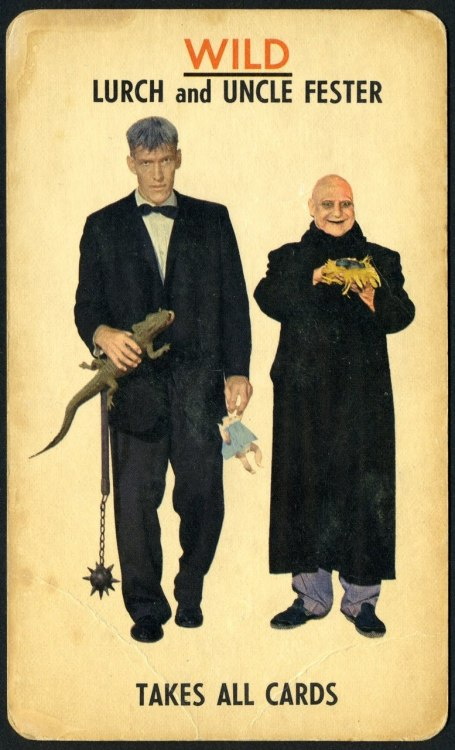 bebelestrange:  retrogasm:  From the Addams Family card game 1965.  I just saw this for sale at a local antique store for like $30… perhaps I should buy it and add it to my collection of old games…  Of course!