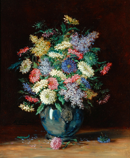 Henri-Charles Guerard Flowers in a Vase 19th century