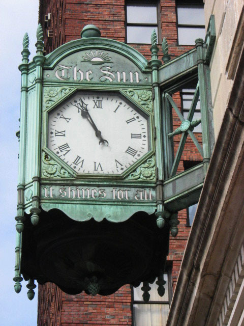 27) The Sun newspaper clock - Broadway at Chambers Street, NYC - the newspaper began publishing in 1833, merging with the New York World -Telegram in 1950 (I don't think that there is any affiliation with the more recent New York Sun paper, now also defunct, but they did use the slogan from the old paper, seen on this clock). photo (c) Alan Strauber (all rights reserved) 9.18.10