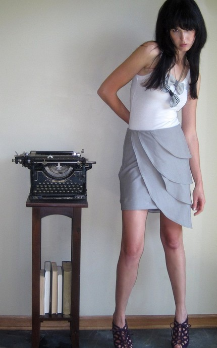 Dire situations skirted grey origami petal skirt by Minxshop
